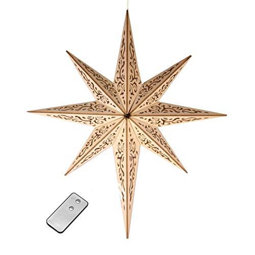 DbKW (Ornament Optik, Ø 52 cm) Großer beleuchteter Holzstern mit Fernbedienung, Ornament-Stern, Ø 52 cm, kabellos, 10 LEDs, Fensterstern