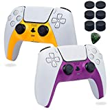 Decorative Shell Case Cover Skin Replacement Set for PS5 Wireless Controller DIY Playstation 5 Console Game Accessories with 6 Thumb Stick Caps (Yellow Purple)