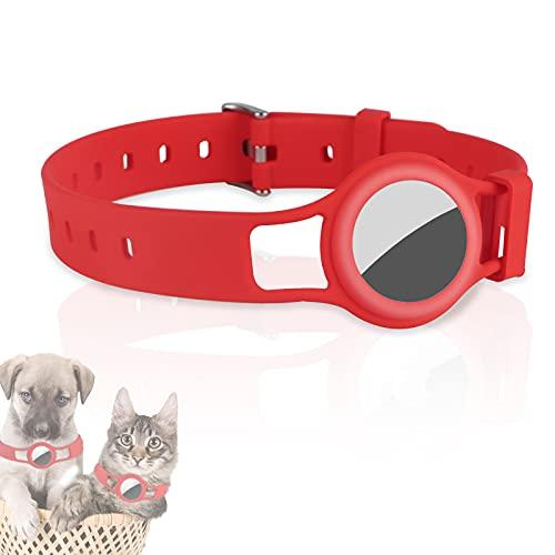 JLLTiioo Collare in Silicone per Cani e Gatti Compatibile con Apple AirTag 2021, 20-40 cm (8,2 '- 15,5') Durevole e sicuro Lunghezza regolabile, Copertura Accessori Pet Finder (1 Pezzo, Rosso)