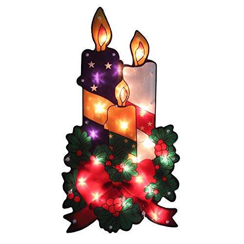 Northlight 17.5 Lighted Holly and Berry with Candles and Bow Christmas Window Silhouette