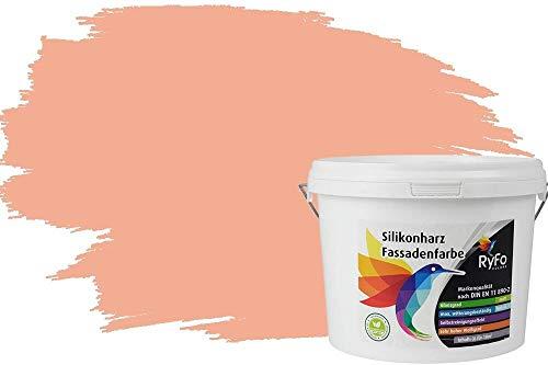 RyFo Colors Silikonharz Fassadenfarbe Lotuseffekt Trend Orangetöne Pfirsichorange 3l - bunte Fassadenfarbe, weitere Orange Farbtöne und Größen erhältlich, Deckkraft Klasse 1