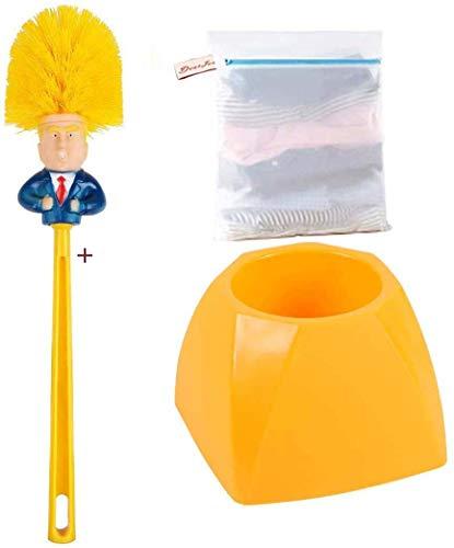 HomeFairy Decorativo Donald Trump Scopino per WC con supporto, Scopino per la pulizia della toilette con set di supporti ad asciugatura rapida con Un extra Sacchetti per Lavatrice