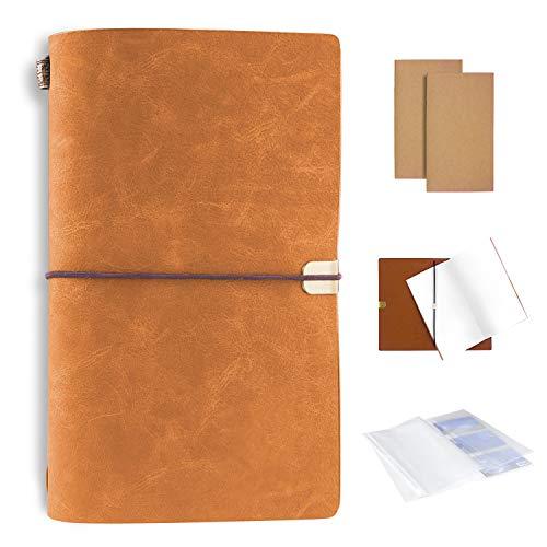 xperg Handgefertigt Notizbuch Leder Vintage, Notizblöcke 20x12 cm, Nachfüllbar Seiten Leder Tagebuch, Caramel
