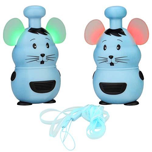 Retevis RT30M Kinder Walkie Talkie, Walkie Talkie für Kinder, 1 Kanal PMR446 Blinkende LED-Ohren, Mini Walkie Talkie für Kinder Spielzeug Geschenk zum Wandern, Camping, Garten (blau, 1 Paar)