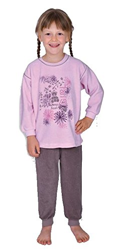 'WÖRNER Gant Sunny Bear Rosé Lits d'enfants Peignoir, Bavoir, des Serviettes, Gant de Toilette Poncho, Pyjama, Schlafanzug 2-TLG Frottee, 98