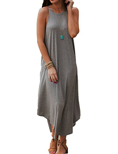 Halife Women's Halter Loose A-Line Casual Long Maxi Dress Plus Size Party Dresses XXL,Gray
