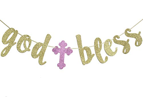 God Bless Banner, Baptism Garland Sign Gold Glitter for First Communion Christening Party Decorations Photo Props