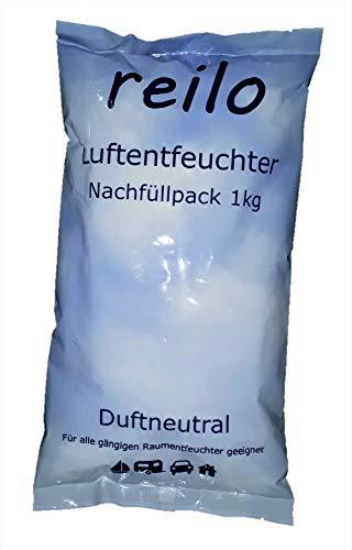 10x 1kg reilo Luftentfeuchter Granulat (Calciumchlorid) im Vliesbeutel, für Raumentfeuchter Boxen 900g - 1,2kg, einzeln verpackt in Polybeutel