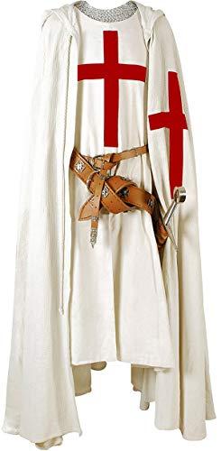 Armour Shop Capa de Caballero Medieval con Capucha, Capa Cruzada/túnica, Reenactment SCA (S-6XL)