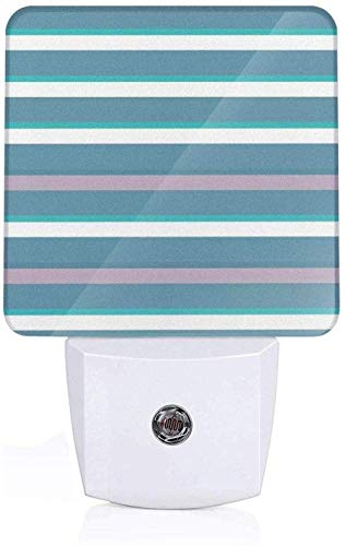 Donkergroene strepen in turkoois met dikke en dunne lijnen met kleurenpatroon aquamarijn kunstdruk Teal White Moms and Nursery LED nachtlampje UK_White