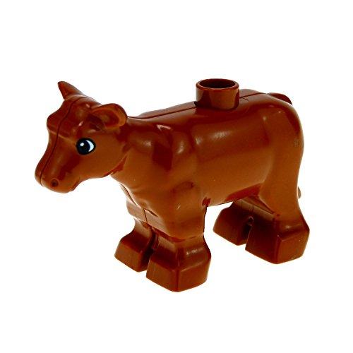 1 x Lego Duplo Tier Kalb dunkel orange braun kleine Kuh Kälbchen Bauernhof Zoo Zirkus 4972 6679