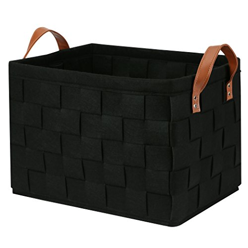 Collapsible Storage Basket Bins, Foldable Handmade Rectangular Felt Fabric Storage Box Cubes Containers with Handles- Large Organizer For Nursery Toys,Kids Room,Towels,Clothes, Black 16