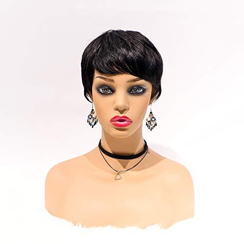 Sedittyhair MALAIKA Human Hair Pixie Cut Wigs Short Wigs with Bangs 150% Density Virgin Brazilian hair Short Layered Wigs for Black Women (Cici, Natural Black)