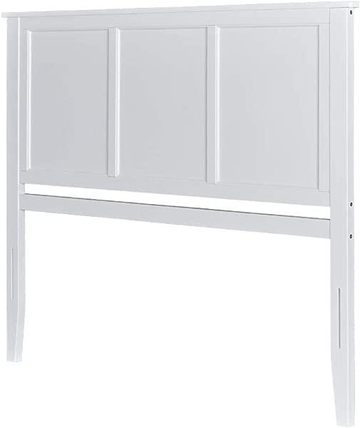 MUSEHOMEINC Georgia Solid Wood Headboard Panel With Flat Top Rail Design White Finish King