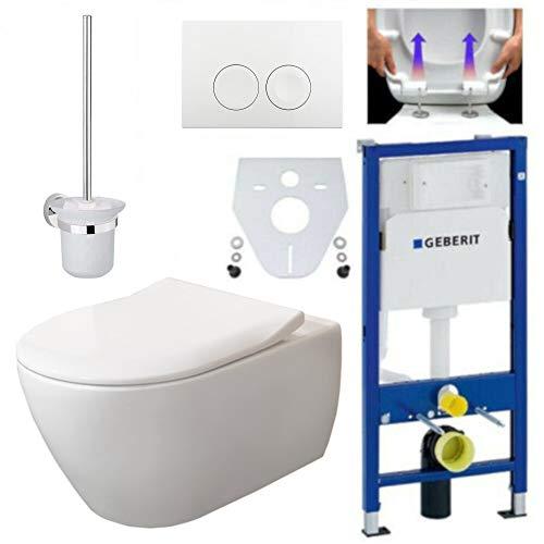 Geberit Duofix Vorwandelement, V&B Subway 2.0 spülrandlos, Beschichtung, Delta21, Kpl-Set, WC-Bürste Wandhängend