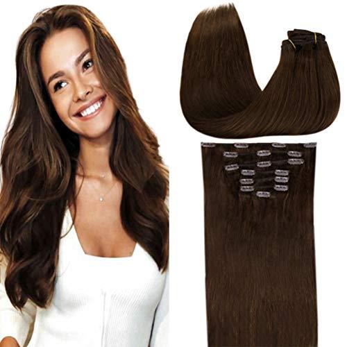 LaaVoo Clip in Hair Extensions Dark Brown Natural Human Hair 18