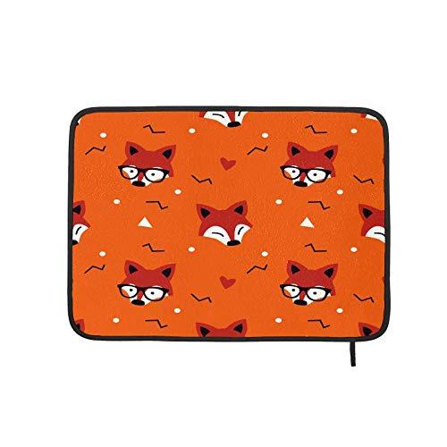 Esteras de secado de platos para cocina, diseño de zorro rojo con gafas de sol, reversibles, resistentes al calor, superabsorbentes, escurridor de platos para cocina de 60 x 45 cm