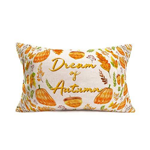 Smilyard Autumn Harvest Pillow Covers Decorative Pumpkins Maple Leaf Thanksgiving Lumbar Farmhouse Throw Pillow Case Cotton Linen 12x20 Inch Fall Rectangle Cushion Cover Outdoor (Dream Pumpkin)