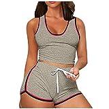 Dreamyth-sets 2Pcs Women Sleeveless Split 2 Piece Set Casual Short Pants Casual Outfit Sportswear (Coffee, XL)
