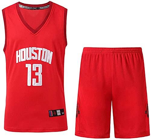 CPBY Rockets 13# Harden Jersey Panno da Basket Set Retro Edition Jersey Ricamo Set Set Uniforme Shirt Summer Shirt Virtual Shorts, Nero, XL, Red - L