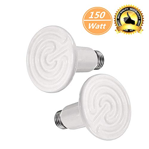 BOEESPAT 150W 2 Pack Ceramic Infrared Heat Emitter Bulb, Reptile Heat Lamp Brooder Coop PetNo LightNo Harm for Pets Amphibians Hamsters Snakes Birds Poultry Chicken Coop Habitats (White)