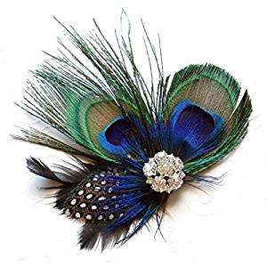 JISTL Unique Design of Peacock Feather Hair Accessories for Women