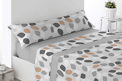 Juego de sábanas Estampadas de Microfibra Transpirable Mod. Zajar (Disponible en Varios tamaños y Colores) (Gris, Cama de 90 cm (90_X_190/200 cm))