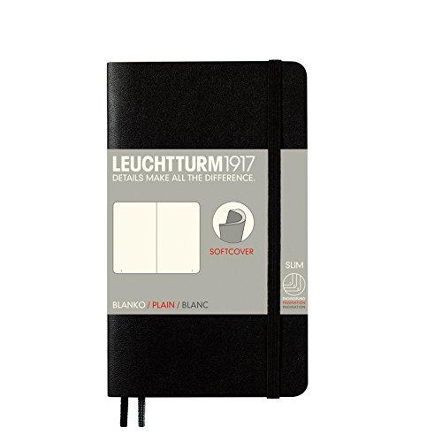 LEUCHTTURM1917 305477 Libreta de notas Pocket (A6) tapas blandas, 123 páginas numeradas, lisa, negro