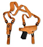 Premium Suede Leather Shoulder Holster with Single Magazine Carrier Fits, Regular Glock 43 with Out Rail Subcompact 9mm , Right Hand Draw, Natural Color #1107#