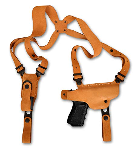 MASC Premium Suede Leather Shoulder Holster with Single Magazine Carrier Fits Springfield XDS 9/40/45 3.3''BBL, Right Hand Draw, Natural Color #1419#
