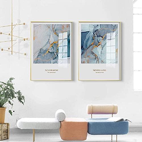 Impresiones de imágenes 2 Piezas 30x50cm Sin Marco Impresiones Modernas Carteles de Arte Abstracto Impresiones Arte Azul Imágenes de Pared Sala de Estar Cartel de línea Dorada