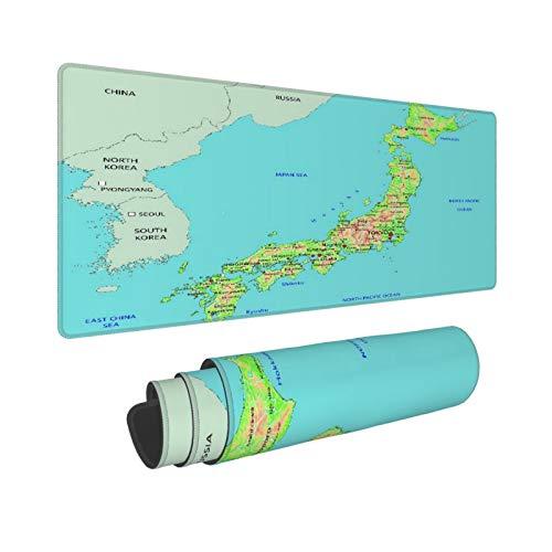 WINCAN Alfombrilla Raton Sea High Mapa físico detallado de Japón Hokkaido japonés Alfombrilla Gaming Alfombrilla para computadora con Base de Goma Antideslizante,80×30×0.3cm