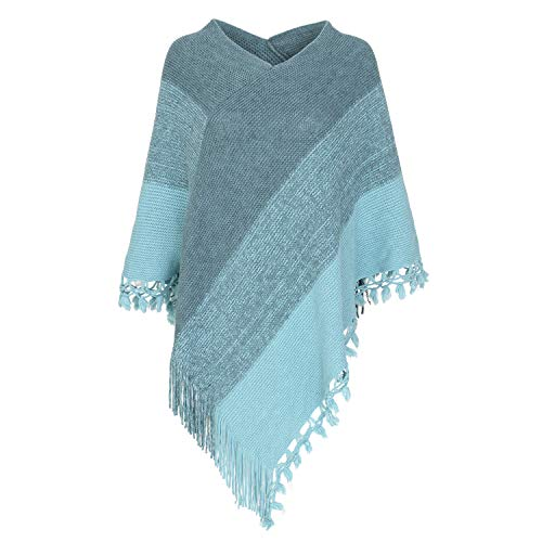 Women Striped Poncho with Tassels Knitted Shawl Scarf...
