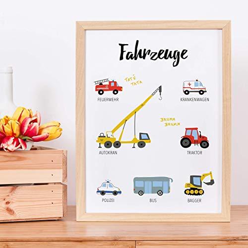 Fahrzeuge | Lernplakat | Personalisiert | Geschenk zum Geburtstag | Bagger | Kran | DIN A4-A2