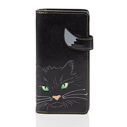 Shagwear Junge-Damen Geldbörse, Large Purse Designs: (Katzengesicht grüne Augen Schwarz/Cat's Face Green Eyes)