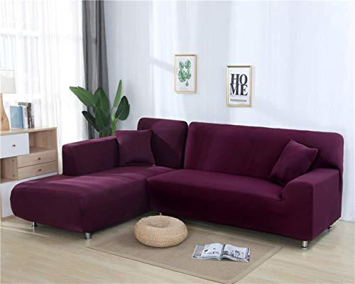 DONG Einfarbige Ecksofaüberzüge für Wohnzimmer, elastischer Couchbezug, Stretch-Sofa-Handtuch, L-Form, Sofa, 2 Stück, deep purple, 3-Seat 190-230cm