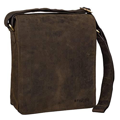 STILORD 'Lars' Vintage Umhängetasche Leder Herren für 13,3 Zoll Tablet MacBooks und iPad Schultertasche Herrentasche Messenger Bag Echtleder, Farbe:Colorado - braun