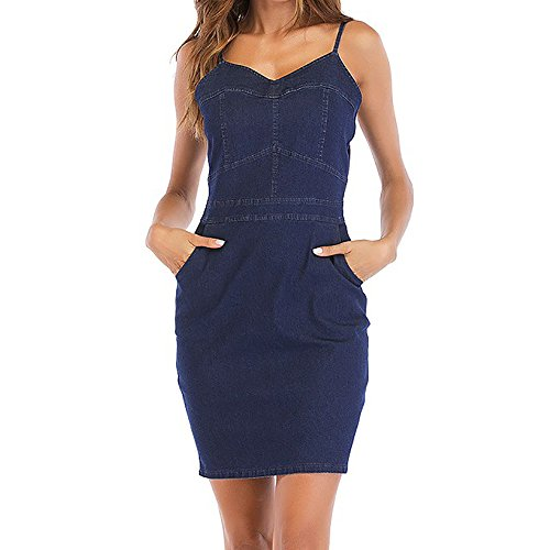 OMUUTR Damen Elegant Bodycon Jeanskleid Kleid Ärmellos V Ausschnitt Sexy Denim Taschen Träger Kleider Blusekleid Partykleid Cocktail Minkleid Bodysuit Festliches Blau