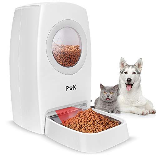 PUPPY KITTY 6L Automatischer Futterspender für Katze und Hund, Futterautomat Katze & Hund mit Edelstahlnäpfe, Fütterungsautomat mit Raumkapsel-Form bis zu 4 Mahlzeiten am Tag, Ton-Aufnahmefunktion