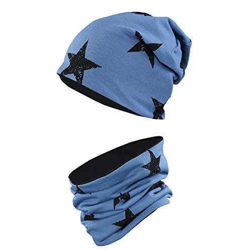 TupTam Unisex Kinder Beanie Mütze Schlauchschal Set, Farbe: Sterne Schwarz/Jeans, Größe: 52-54
