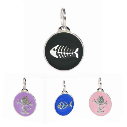 PetTouchID - Cat ID Tag, Smart Digital Tag, QR Code, Online Pet Page, Scanned GPS Location (Black Fish)
