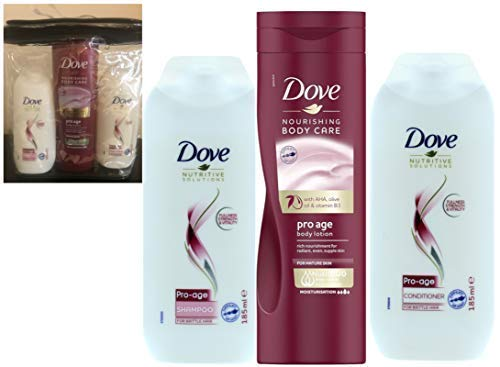 Dove Pro Âge Ensemble Cadeau Shampooing+Après-shampooing+Intense Lotion Corporelle - Tout en un Transparant Articles de Toilette Sac avec Passepoilé Bords - Cadeau Idéal