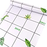 HOYOYO White Evergreen Leaves Letter Love Self-Adhesive Liner Paper, Lattice Removable Peel and Stick Dresser Cabinets Furniture Table Desk Home Decor 17.8 x 118 inch