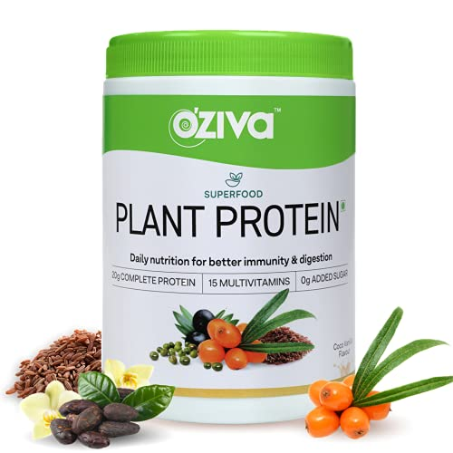 OZiva Superfood Plant Protein (20g of Complete Protein Powder with Essential Vitamins & Minerals) for Boosting Immunity, Energy & Better Digestion, Coco Vanilla, 250g