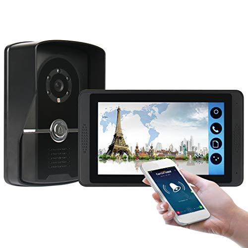 TYXS video-deurintercom, deurbel, intercomsysteem, 7 inch wifi-monitor met bedrade camera buiten, nachtzicht, app ondersteuning automatisch snapshot/opname.