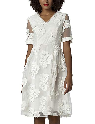APART luxuriöses Damen Kleid, Brautkleid, Cocktailkleid, crèmefarben, Organza Bestickt mit 3-D-Blüten, weiter Rockpart, Creme, 40