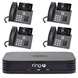 Ring-U Hello Hub Small Business PBX Phone System and Service VOIP 4-Phone Bundle (Hello Hub + 4 Executive Phones with WiFi + Bluetooth)