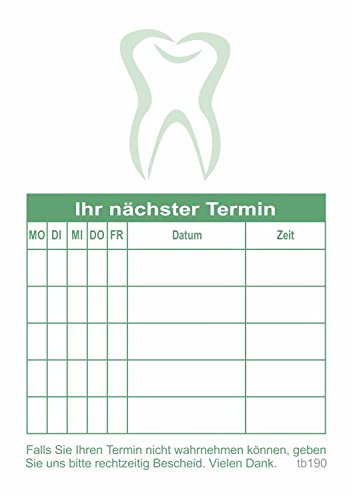 10 Terminblöcke mit je 50 Terminzettel, Terminblock grün tb190 Zahnarzt