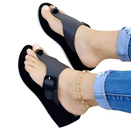 Minetom Frauen Keilabsatz Sandalen Sommer Offene Schuhe Espadrilles Plattform Damen Flip Flops Freizeit Sommerschuhe B Schwarz 37 EU