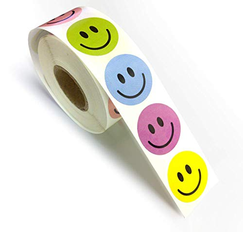 """Assorted Color Happy Smiley Face Circle Dot Incentive 1"""" Round Stickers for Rewards, School, Home Etc, 1 Roll Per Package, 500 Labels Per Roll - 100 of Each Color."""